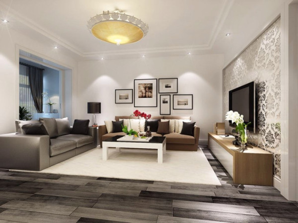 客厅:宽大的沙发,白色壁纸背景墙,简单直接,宁静,舒适。