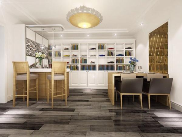 餐厅:家具多以储物为主,吧台的设计,营造浪漫的休闲空间。