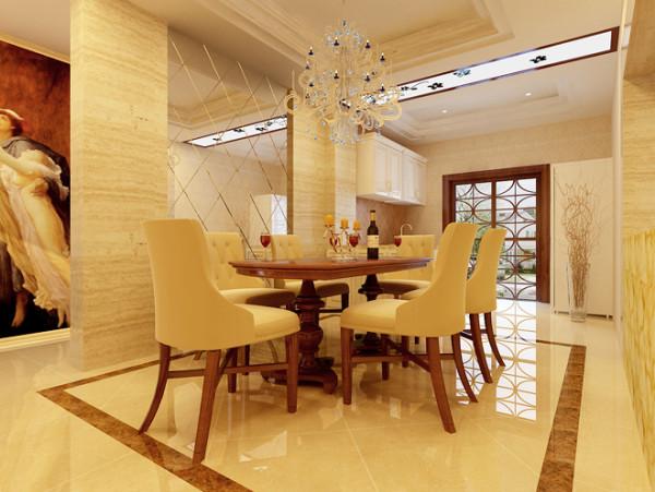 设计说明:简约欧式风格的餐桌餐椅,水晶灯点缀,抛光地板的修饰效果。整体打造出了奢华、优雅、尊贵的欧式贵族气息。