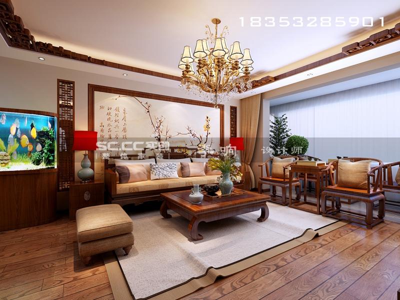 和悦蓝庭 165平装修 青岛实创 实创装饰 中式风格 客厅图片来自实创装饰集团青岛公司在和悦蓝庭165平中式的分享