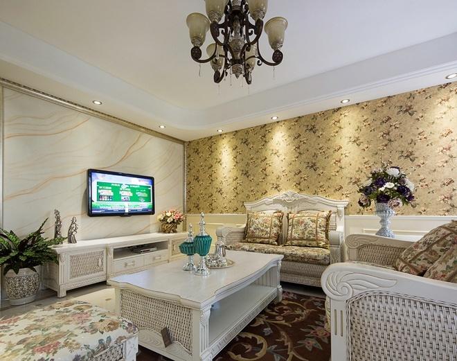 田园 客厅图片来自四川岚庭装饰工程有限公司在80平简欧田园混搭风二室一厅的分享