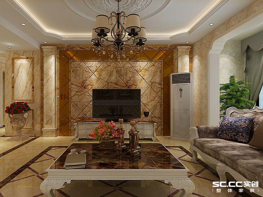 中原名邸 三居室装修 奢华欧式 客厅图片来自郑州实创装饰-杨淑平在中原名邸130平三居奢华欧式的分享