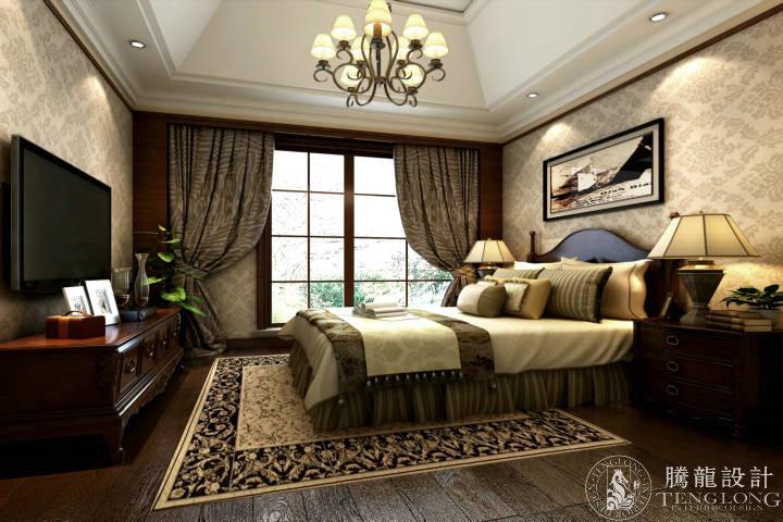 绿地香颂 别墅装修 别墅设计 美式风格 腾龙设计 林财表作品 卧室图片来自林财表在绿地香颂别墅装修美式风格设计的分享