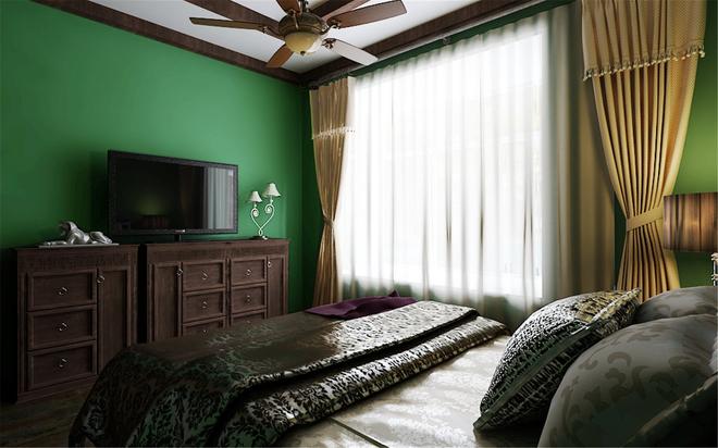 卧室图片来自四川岚庭装饰工程有限公司在阳光梦想城小户型绿色清新东南亚的分享