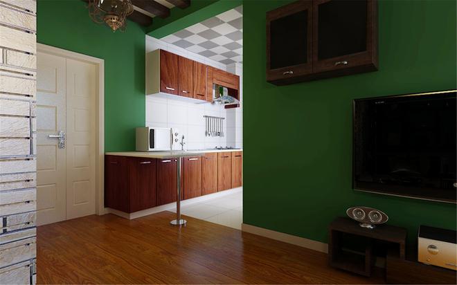 厨房图片来自四川岚庭装饰工程有限公司在阳光梦想城小户型绿色清新东南亚的分享