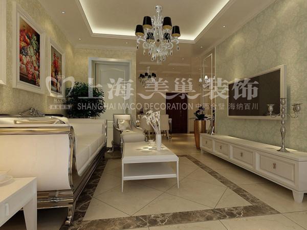 润城简欧装修87平2室2厅样板间客餐厅效果图