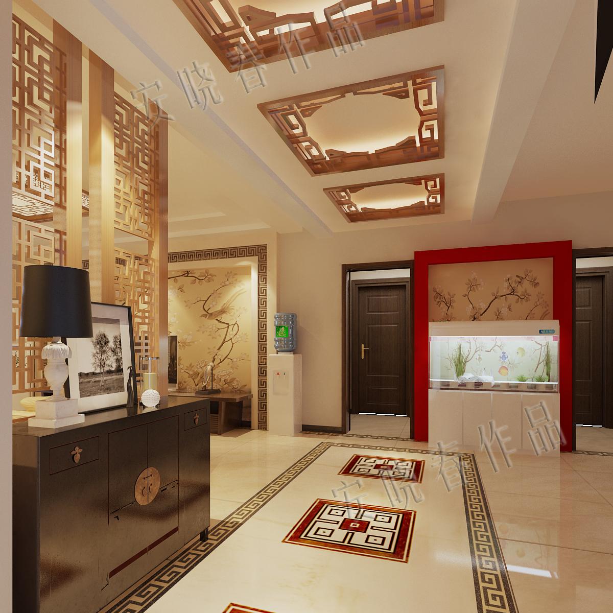 玄关图片来自今朝装饰小徐在四惠东 158平新中式风格的分享