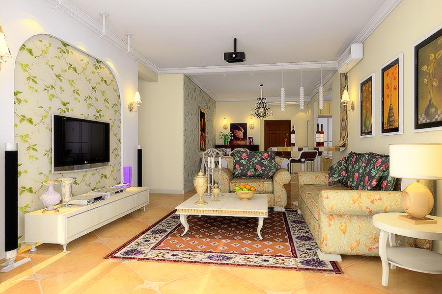 客厅图片来自今朝装饰小徐在天通苑 120平田园风格的分享