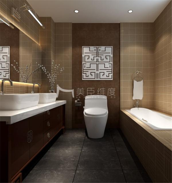 卫生间效果图,大面积的运用了中式花纹的贴砖,柜子的色彩依然符合整体的一个中式色彩,还有部分中式的纹路,简单干净!