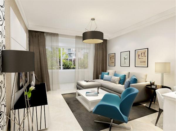 因为业主喜欢明亮的感觉,干净的感觉, 所以在客厅中主题使用了白色,在家具上使用了现代感较强的米白色家具,在搭配上使用了一些蓝色调,让整体看起来没有那么的平淡,