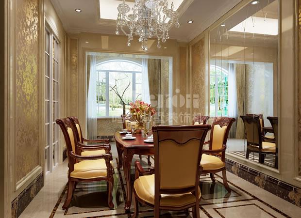 鸣仁别墅 别墅设计 餐厅图片来自鸣仁装饰在260平石家庄国际城新古典风格的分享