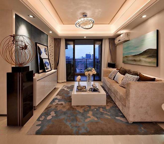 客厅图片来自四川岚庭装饰工程有限公司在现代风格三居室装修效果图的分享