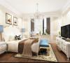 在卧室的设计上以实木地板和美式白色家具的搭配,天蓝色的点缀。再加以美式特有的床品风格,整个卧室,使得素色系、美式风格表现的淋漓尽致。