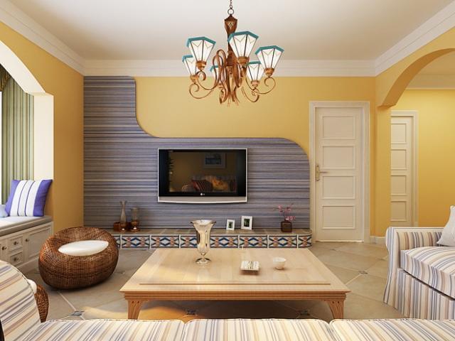 客厅图片来自四川岚庭装饰工程有限公司在暖暖海风 地中海风情三居的分享