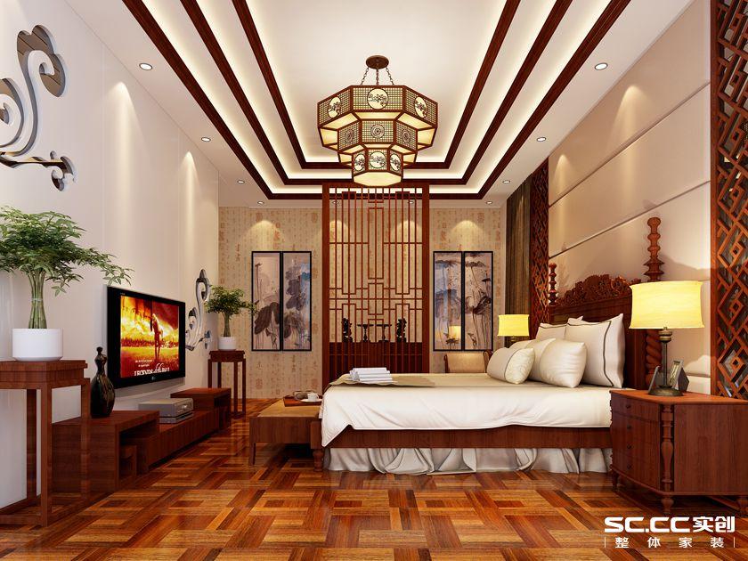 别墅设计 中式风情 大户型装修 卧室图片来自郑州实创装饰-杨淑平在商丘虞城别墅840平中式设计的分享