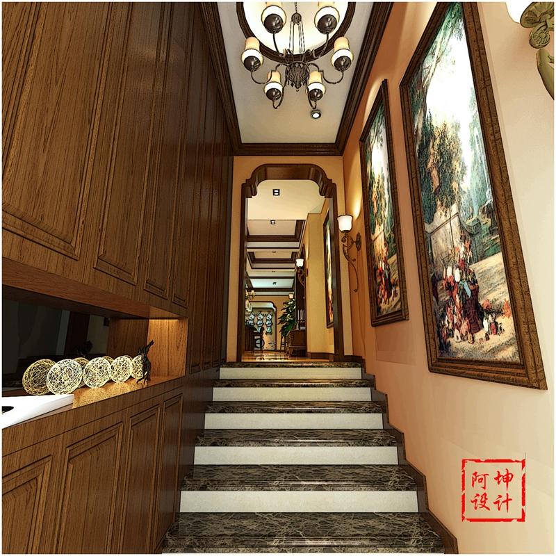美式 三居 实创 装修 楼梯图片来自快乐彩在大户型精装修花溪地美式装修风格的分享