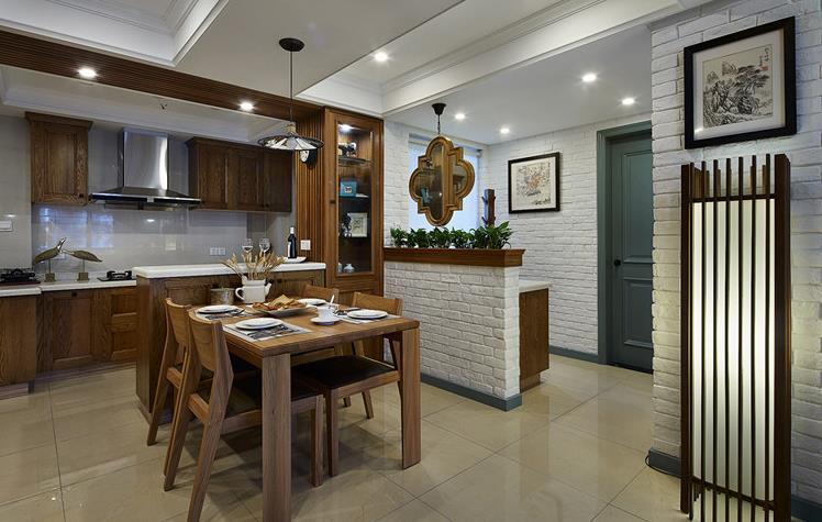 混搭 三居 舒适 实木 餐厅图片来自佰辰生活装饰在将混搭进行到底 100平超美空间的分享