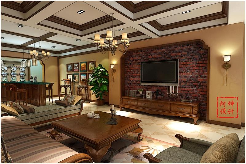 美式 三居 实创 装修 客厅图片来自快乐彩在大户型精装修花溪地美式装修风格的分享