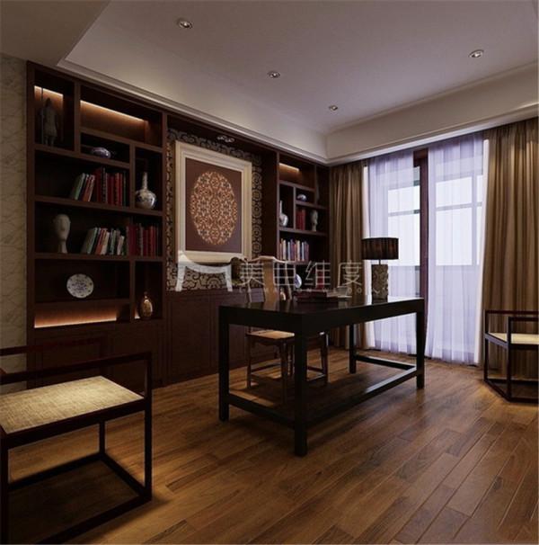 书房效果图,大面积运用了木质线条,让房间的每块区域都增添了艺术活力。