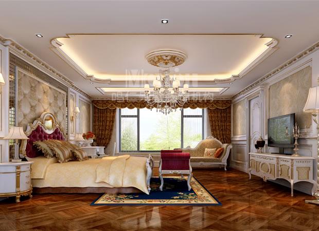 卧室图片来自鸣仁装饰在350平山东望海花园简欧风格的分享