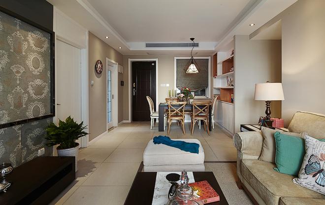 客厅图片来自四川岚庭装饰工程有限公司在90平米现代美式混搭三室两厅的分享