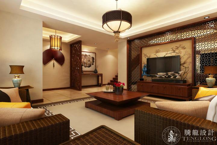 新宏国际 别墅装修 别墅设计 新中式风格 腾龙设计 周灏作品 客厅图片来自室内设计师周灏在新宏国际300平别墅新中式设计的分享