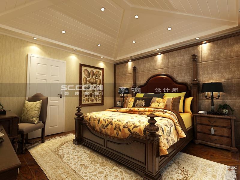 别墅 美式 实创 装饰 卧室图片来自快乐彩在别墅装龙湖上叠美式装修风格实创的分享