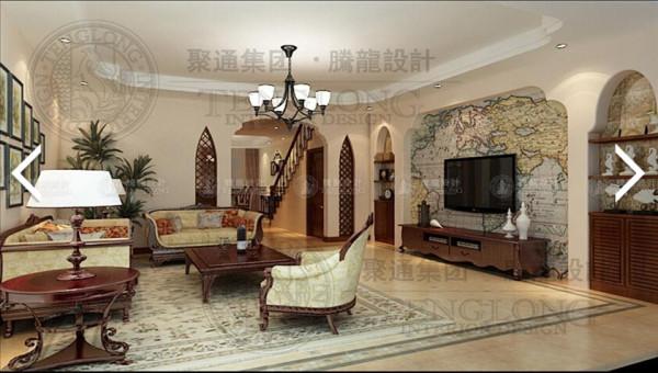 昆山福运马洛卡200平别墅装修美式风格设计方案展示,腾龙别墅设计师成建飞作品,欢迎品鉴!