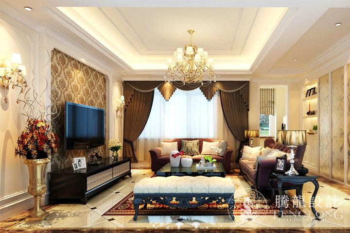 富力湾 别墅装修 别墅设计 欧式风格 腾龙设计 徐文作品 客厅图片来自室内设计师徐文在富力湾300平别墅现代欧式风格的分享