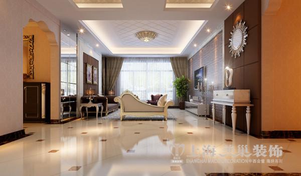 建业森林半岛装修160平简欧四室效果图——客厅全景