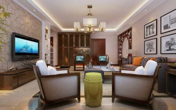 本案例是一户业主的新房,业主平时喜爱中国古典文化,同时又希望自己的家能充满时尚感。设计师了解了业主的这一想法后,觉得新中式风格对业主来说再适合不过,于是设计了这套装修效果图。