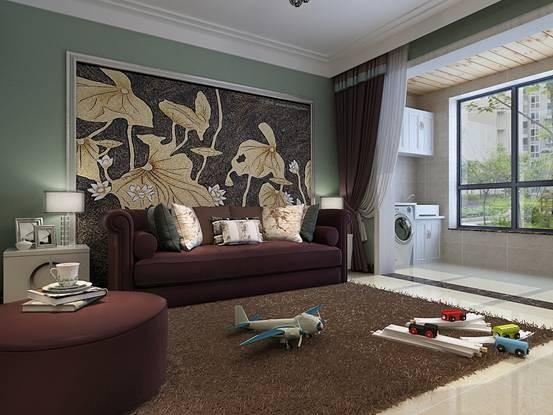 深褐色在客厅中成为主体,整个客厅显得简洁而又庄重。电视墙抛却以往墙面花色造型,在整体墙面上用双的石材造出颜色对比鲜明的效果墙。