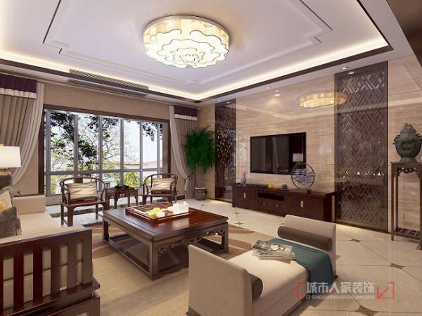 开元壹号237平米中式装修 客厅