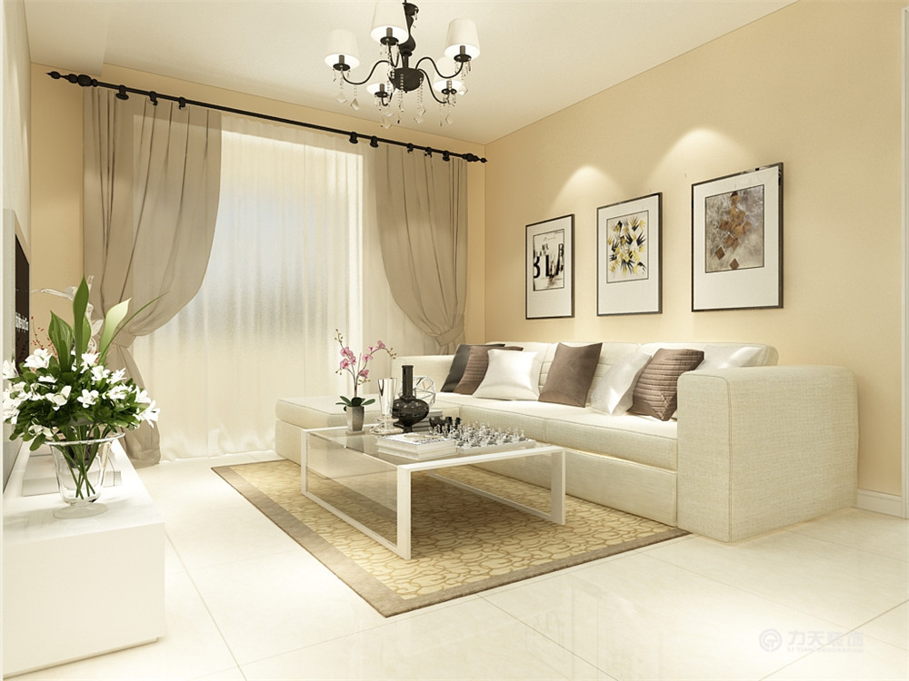 客厅墙面挂砖效果图_本次的设计风格是现代简约风格。客厅墙面是米黄色的乳胶漆 ...