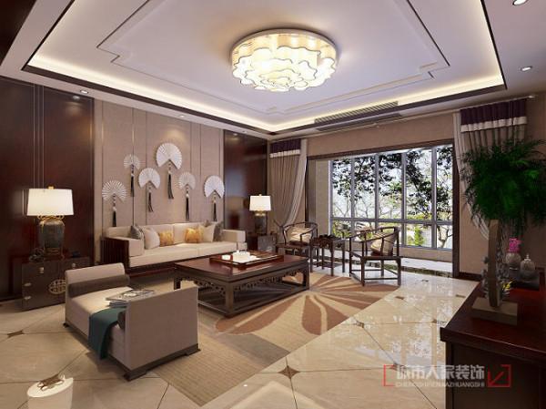 开元壹号237平米中式装修 客厅沙发背景