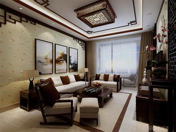 本户型设计成新中式的风格,作为老人住的房子,新中式对于他们来说是再好不过的了。既有现代的气息,又夹杂着对古代的怀念。首先在整体的设计风格上以简洁明亮的色调为主,吊顶则采用白色的回行石膏板吊顶为主。