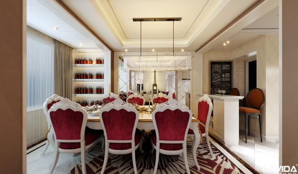 餐厅实用的酒柜隔架及菱形银镜让空间更整齐.(作品均为原创.盗图必究)