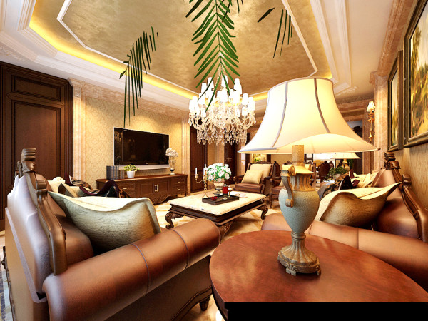 大厅的动线以过道为中轴的标准布局,客厅的设计运用欧式建筑外观的元素融入室内空间,以对称的设计为主。因为房屋的举架相对来说比较高,所以在顶棚的设计上给了设计师更大发挥的空间。