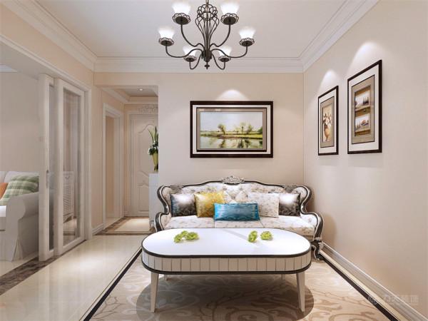 本案在设计上首先从客厅着重表现,客厅在整个空间中还兼具着交通枢纽的功能。客厅的设计上我们做了一面整面墙的壁纸,墙再配以简单的电视柜和欧式沙发椅就形成了十足的欧式感