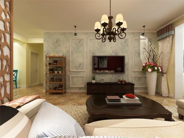 本方案整体以暖色调为主,给人以返璞归真的视觉效果。实木的纹理,清新的布艺沙发,流露出一股浓浓的美洲风情。客厅的实木桌,朴素花纹的地毯,瞬间给人一种尊贵之感。