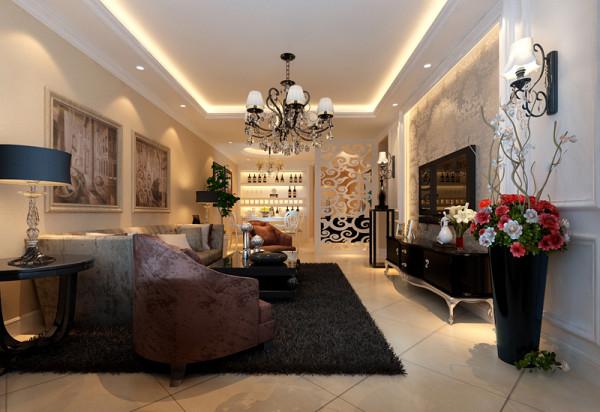 高档华丽的大客厅设计理念:奶茶色的墙面,白色的造型,白色的顶面,暖暖的简单色调,搭配少许香槟银色的使用,在低调的单色世界里融合了奢华的气息。