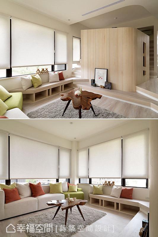 电视墙旁边的楼梯可通往书房,顺着高地落差的层次,延伸出可做为收纳椅的矮柜,同时与餐厨区的折角吧台设计相呼应。