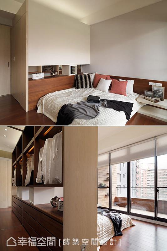 更衣室墙面采穿透设计,并配合镶贴大面穿衣镜,让充足的采光得以进入空间内部。