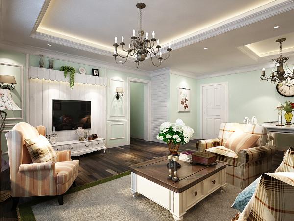 客厅,作为房屋的主题空间,不管是配色还是设计都要展示出房屋的亮点,设计的亮点,电视背景墙上做了壁灯,以及绿植架,在底色的衬托下形成了鲜明的对比。