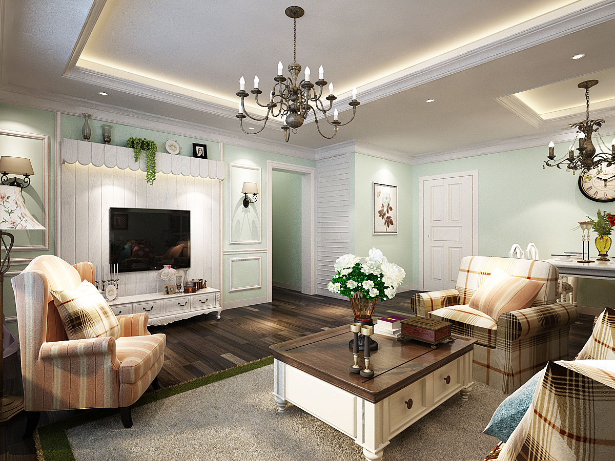 客厅图片来自广州实创装饰朱建芳在淘金家园86平田园风格的分享