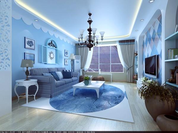 景华苑 146平米 地中海风格 装修设计案例效果图--客厅