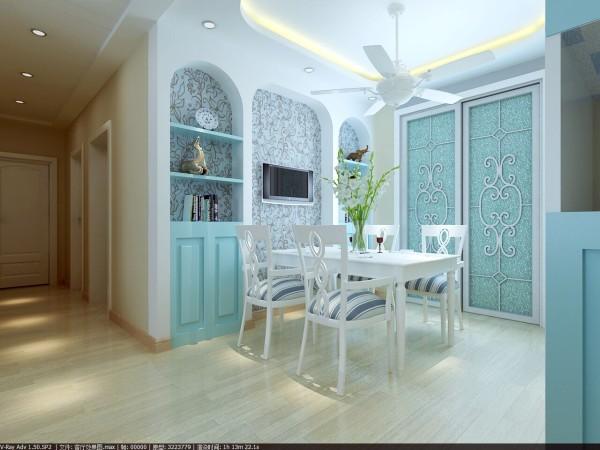 景华苑 146平米 地中海风格 装修设计案例效果图--餐厅