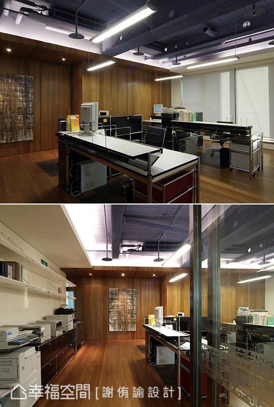 将柚木地板延伸至壁面和部分天花,天地合一的设计宛如将空间包覆起来,搭配谢侑谕设计师的艺术画作,让空间多了份温润气息。