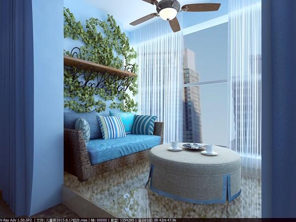景华苑 146平米 地中海风格 装修设计案例效果图--阳台