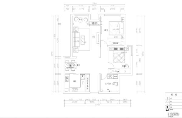 左手边是用餐区,餐区左手边是厨房区域。接着是客厅,客厅阳台可以有一个小的休闲区。接着是主次卧室以及卫生间。整个空间布局明确。